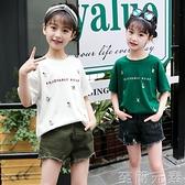 女童T恤新款夏裝純棉短袖小童中大童上衣繡花卡通洋氣體恤衫 至簡元素