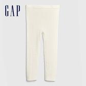 Gap女幼童 簡約風格純色鬆緊毛線褲 593219-象牙白