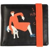 YIZISTORE彈力繩錢包女短款兩折多卡位軟面 印花PU大鈔零錢夾小包