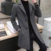 呢子外套 冬季風衣男日韓修身中長款青年加厚呢子外套潮牌帥氣毛呢大衣 巴黎時尚