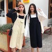 新款純色寬鬆中長款牛仔背帶裙女裙子春裝韓版學生背心洋裝 至簡元素