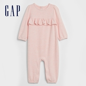 Gap嬰兒 甜美風格純色一體式包屁衣 620060-粉色