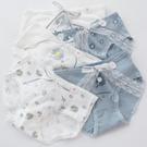 三角褲 5條禮盒裝霧霾藍小雛菊純棉女內褲可愛甜美少女蝴蝶結中腰三角褲-Ballet朵朵