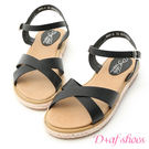 涼鞋 D+AF 清新風格.交叉造型平底草編涼鞋*黑