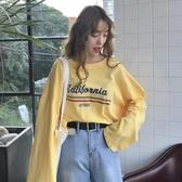 夏季女裝韓版BF風寬鬆百搭字母印花長袖T恤學生休閒顯瘦上衣體恤
