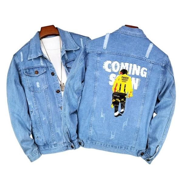 秋季印花日系夾克外套 時尚男生外套 簡約男士外套 潮流外套潮牌外衣 男外套寬松牛仔韓版外套