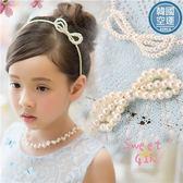 韓國飾品~亮澤珍珠蝶結髮圈-小公主搭禮服洋裝推薦(P11774)★水娃娃時尚童裝★
