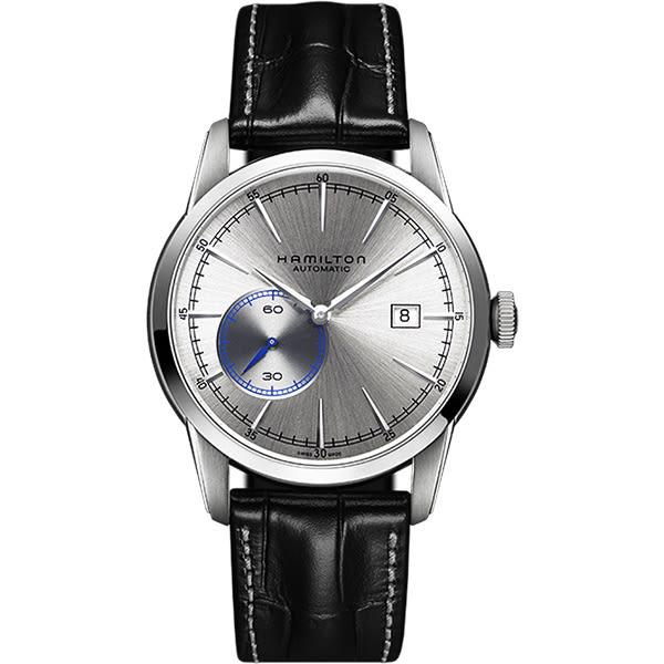 Hamilton 漢米爾頓 RAILROAD 鐵路系列偏心機械腕錶-銀x黑/42mm H40515781