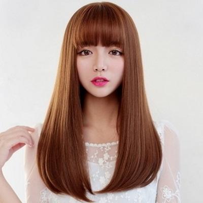 整頂假髮(長髮)-時尚氣質唯美齊瀏海女假髮2色73ej35【時尚巴黎】