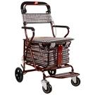 老代步車摺疊購物車座椅可坐四輪買菜助步可推小拉車老人手推車 [快速出貨]