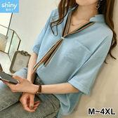 【V2564】shiny藍格子-個性休閒.條紋領帶寬鬆中長袖上衣