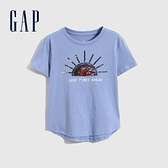 Gap女童 童趣純棉雙面亮片短袖T恤 697515-藍紫色