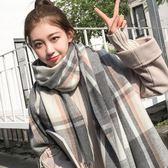 冬天格子圍巾女秋冬季韓版百搭男ins學生可愛少女士保暖毛線圍脖   米娜小鋪