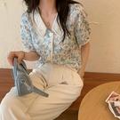 碎花短袖襯衫女士夏季韓版寬松百搭減齡鉤花襯衣復古港風薄款上衣