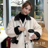 2018新款冬季女裝韓版BF風寬松拼皮仿羊羔毛加厚棉衣棉服外套學生
