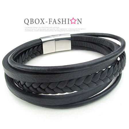 《 QBOX 》FASHION 飾品【W10024976】精緻個性多層環圈編織316L鈦鋼真皮革手鍊/手環(黑/咖啡)