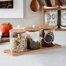調味罐 日式廚房用品玻璃調味罐簡約鹽糖罐調味盒三件套裝竹木蓋調料罐盒