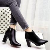 網紅秋靴女新款瘦瘦靴高跟鞋女秋季女靴子韓版百搭及踝靴短靴 韓慕精品