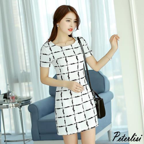 韓版時尚短袖修身收腰格子打底針織連衣裙 0470H 彼得麗絲
