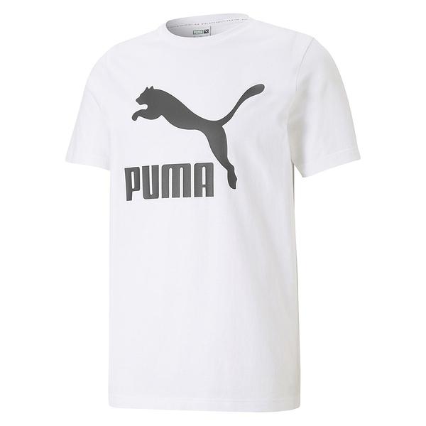 PUMA Classics 男裝 短袖 純棉 休閒 慢跑 基本款 大跳豹 印花 白 歐規【運動世界】53008802
