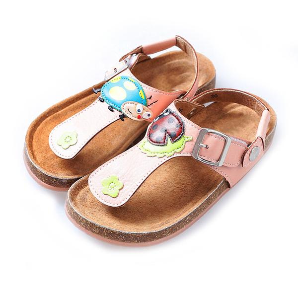 【Jingle】瓢蟲花園T字軟木涼鞋(甜美粉經典白兒童款)