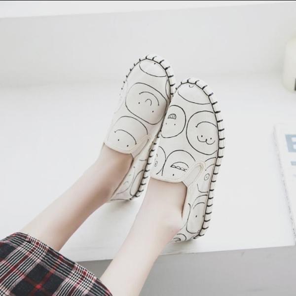 春夏新款布鞋原創情侶鞋男女款帆布鞋休閑百搭透氣軟底一腳蹬懶人
