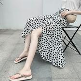 長裙 圖騰 印花 雪紡 一片裙 防曬 沙灘 裹裙 開叉 綁帶 長裙【HS25.1090】 BOBI  05/09