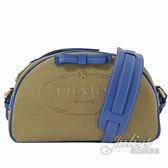 茱麗葉精品【全新現貨】PRADA 1BH125 小款 復古大LOGO 帆布皮飾邊斜背包.藍邊