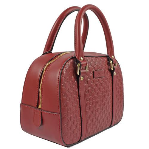 茱麗葉精品【全新現貨】GUCCI 510289 小款  雙G緹花皮革壓紋兩用保齡球包.紅