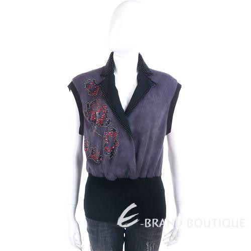 Liesangbong 黑/紫色拼接造型珠飾背心 0590532-01