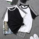 DE SHOP~(T-5441)拼色條紋短袖體恤韓版潮原宿BF學生運動短袖上衣