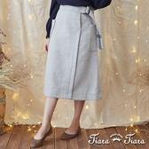 【Tiara Tiara】激安 羊毛混紡綁帶口袋半身裙(灰/黑)