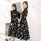 洋裝(兩件套)-長袖唯美印花收腰修身女套...