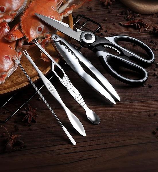 吃蟹工具 吃蟹工具螃蟹夾子鉗子大閘蟹剝蟹鉗夾拆蟹吃海鮮神器八件蟹針剪刀
