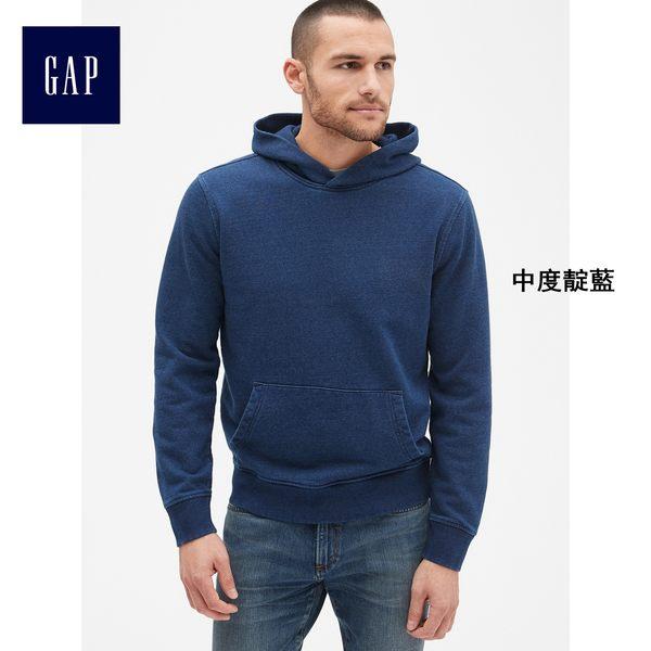 Gap男裝 靛藍色毛圈布套頭長袖連帽休閒上衣 441468-中度靛藍