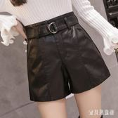 皮短褲 女秋冬2018新款高腰韓版a字外穿闊腿大碼靴褲 BF8977『寶貝兒童裝』