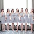 伴娘服短款女2020新款春夏韓版姐妹團灰...