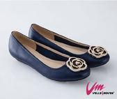 Velle Moven 典雅薔薇花包鞋 台灣製造 舒適好穿 /藍色