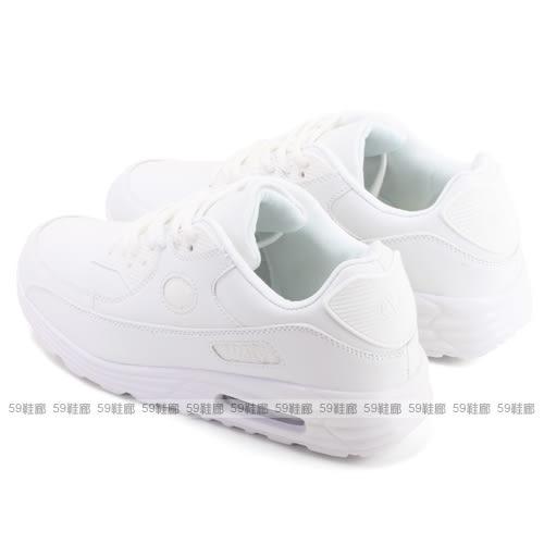 男款 全白透氣氣墊舒適 慢跑鞋 運動鞋 休閒鞋 學生鞋 氣墊鞋 小白鞋 59鞋廊