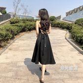 洋裝 復古chic風港味中長款百搭小清新V領花瓣吊帶綁帶露背連身裙潮女黑色洋裝 2色