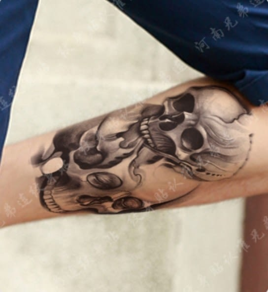 花臂紋身貼紙  大號  骷髏頭  194  日韓系水轉印紋身貼紙 想購了超級小物