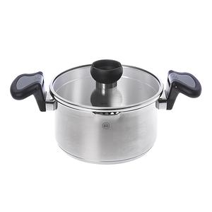 HOLA 亞倫不鏽鋼低身湯鍋20cm (灰柄)