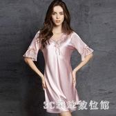 夏天新款睡裙女夏季睡衣薄款性感蕾絲短袖大碼洋裝寬鬆家居服 LR20797『3C環球數位館』
