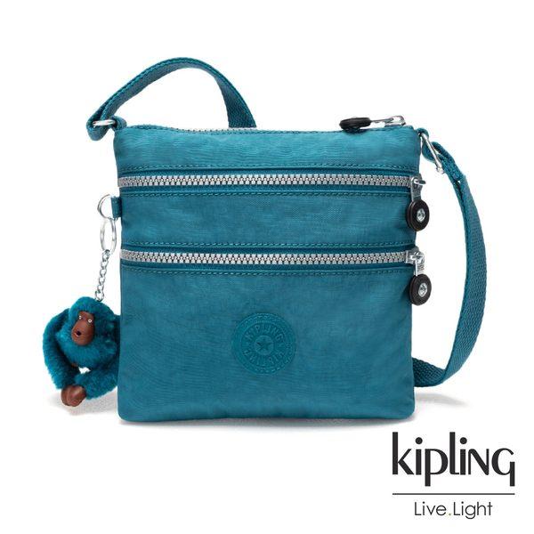Kipling靜謐藍綠色素面收納多夾層側背包-ALVAR S
