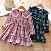 女童連衣裙秋裝2020春秋新款兒童裝女寶寶格子裙學院風洋氣公主裙 蘿莉新品