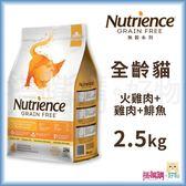 Nutrience紐崔斯『 無穀養生貓 (火雞肉+雞肉+鯡魚)』2.5kg【搭嘴購】