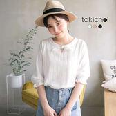 東京著衣-多色甜蜜蕾絲剪接縮口上衣-S.M(180341)