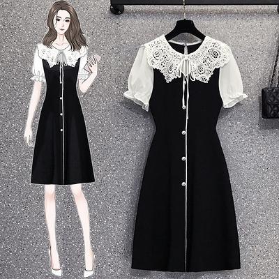洋裝連身裙L-4XL18153夏裝韓版大碼微胖mm顯瘦拼接鏤空領復古連身裙4F093韓衣裳
