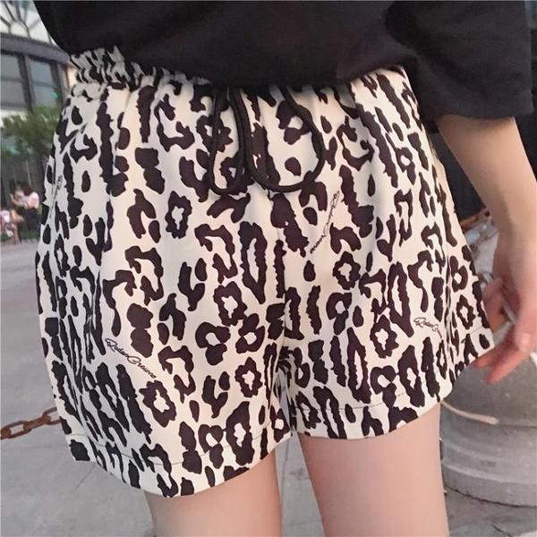 [超豐國際]夏裝復古豹紋松緊腰系帶寬松闊腿短褲顯瘦高腰休閑褲1入