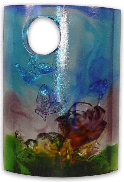 鹿港窯~琉璃【花好月圓】可加購水晶底座◆附精美包裝◆附古法制作珍藏保證卡◆免運費送到家